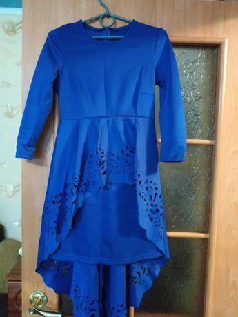 Платье с баской, 2е со стразами