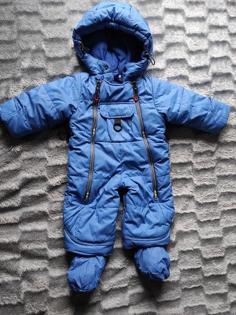 Зимний комбинезон трансформер 68-74 на мальчика синий