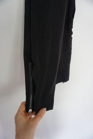 Czarne legginsy z zamkami 34 XS 36 S 38 M elastyczne getry rajstopy
