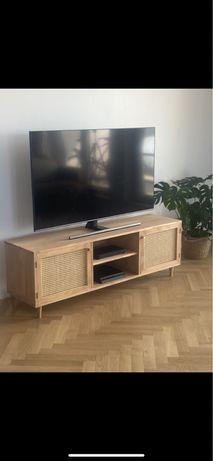 Szafka RTV drewniana z plecionką wiedeńską.