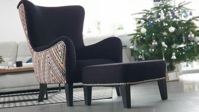 Fotel tapicerowany+podnóżek, pufa, loft, ćwieki