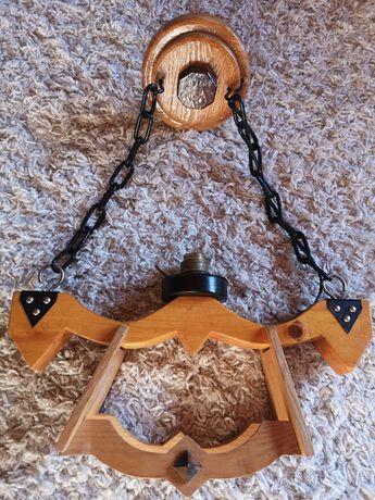 Masywna góralska lampa z drewna i metalu handmade unikat rękodzieło