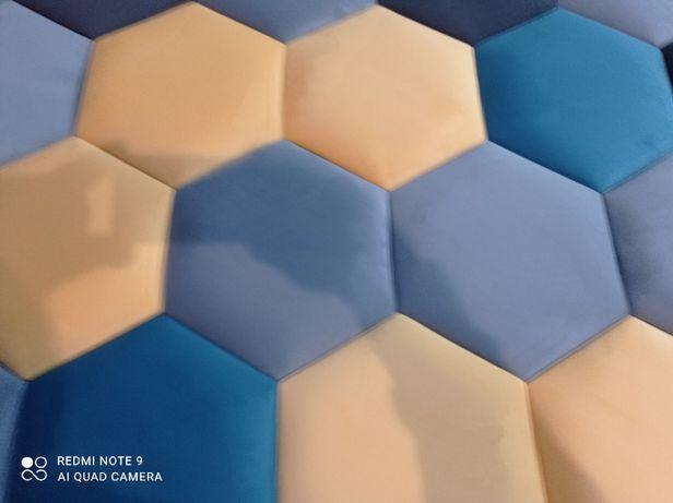 Heksagon Panele tapicerowane wnęki ścianki sypialnie na wymiar