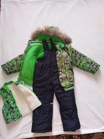 Детский зимний комбинезон костюм тройка для мальчика 1-4 г