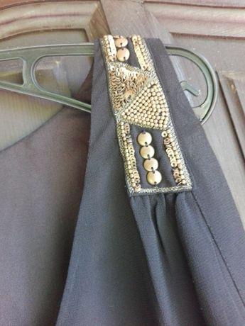 JACQUELLINE RIU czarna piękna zwiewna sukienka r. 40/42