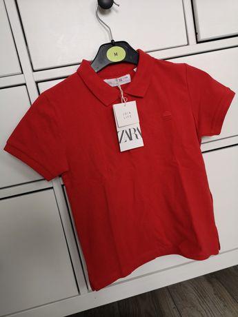 Zara 110 bluzka koszulka polo czerwień