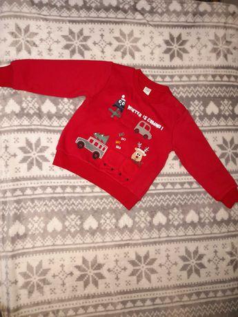 Czerwona bluza świąteczna r.92 smyk