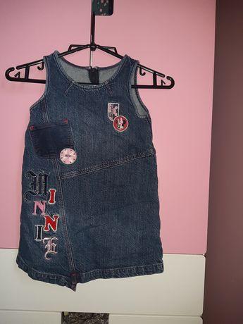Jeansowa sukienke z myszka minnie rozmiar 104 cm