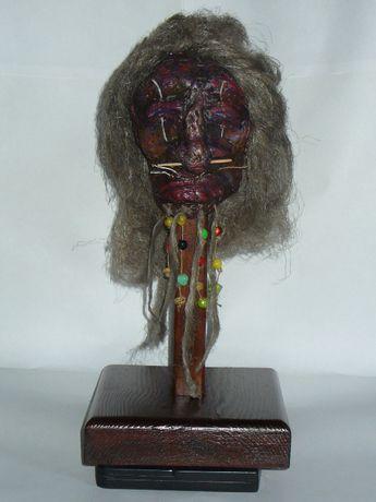 Tsantsa, skurczona głowa, shrunken head, replika, rzeźba, hand made.