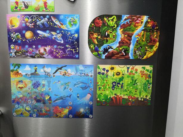 Magnesy magnes danonki ogrodnik puzzle 3d safari podwodny morski świat