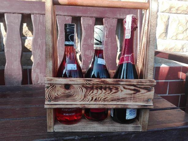 Dekoracyjna Skrzynka drewniana do przenoszenia wina lub napoii