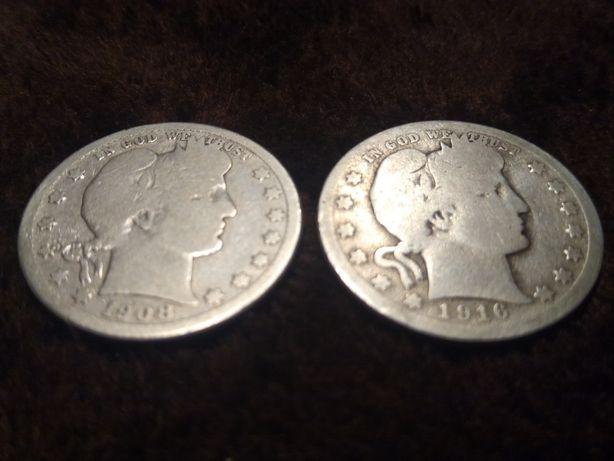 2 x quarter dollar barber head  1908 ,1916 Srebro cena za obie monety