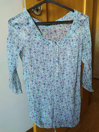 Blusa S floral de tecido transparente da Massimo Dutti