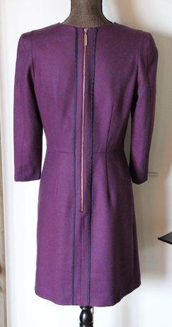 SIMPLE sukienka fioletowa z zamkiem zip wełna 34 xs 36 s