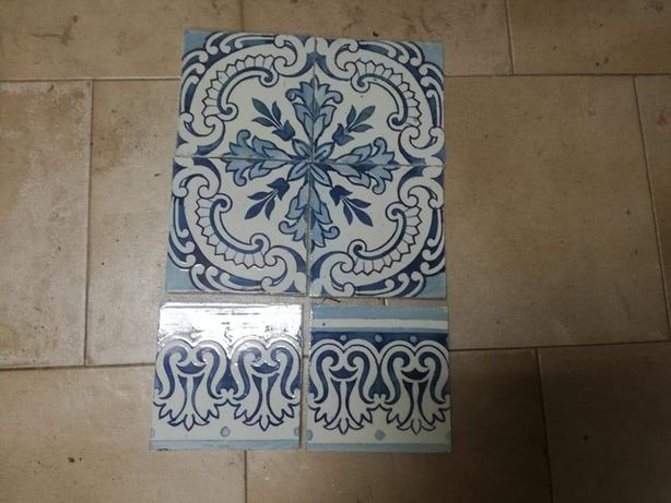 6 azulejos antigos decorativos em bom estado