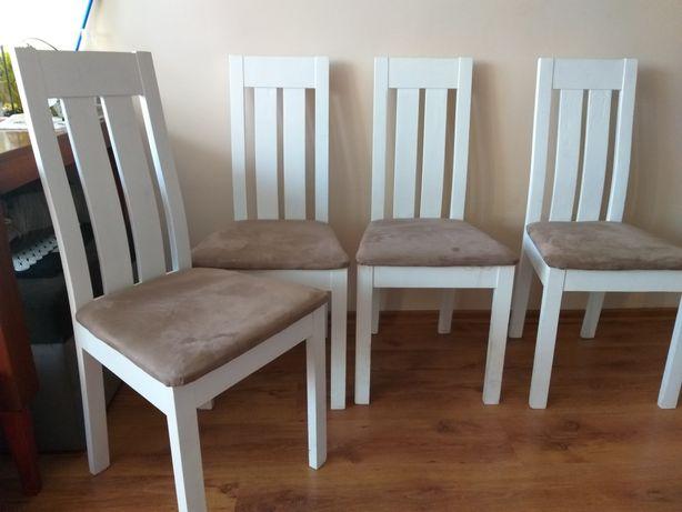 Krzesła  bialo-brązowe - do kuchni, salonu. 4 szt