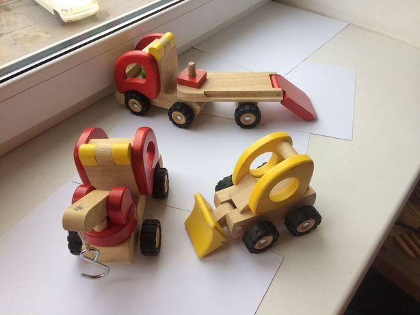 Goki эвакуатор, трейлер и трактор деревянные машинки