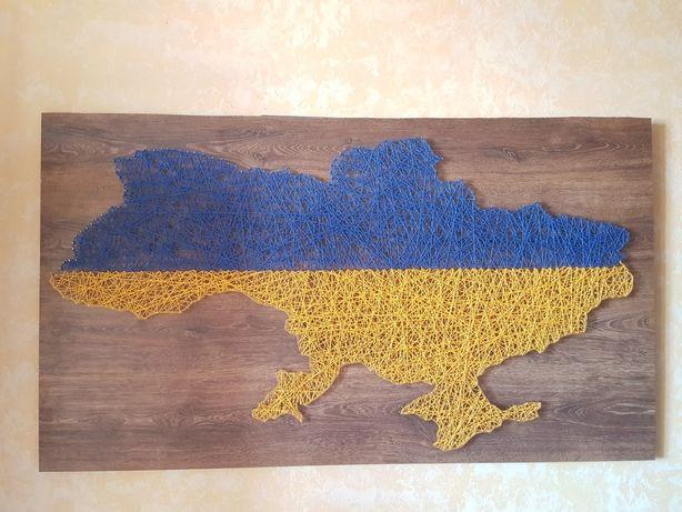 Карта України стрінгарт стрингарт stringart нитки и гвозди