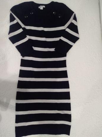 Vestido malha marinheiro - Blanco