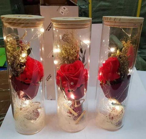 Новый подарок девушке роза в колбе с LED подстветкой 25 см