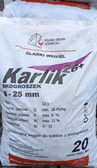 Węgiel ekogroszek KARLIK  20kg do kotłów z podajnikiem