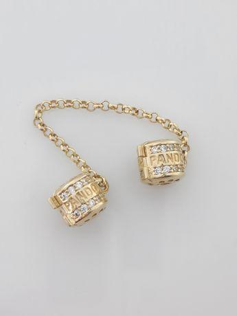 Złoty łańcuszek zabezpieczający Pandora 585 Nowy