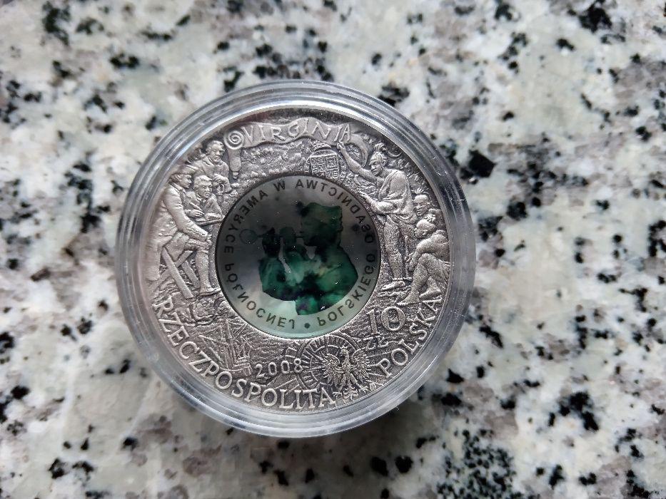 Srebrna moneta - 10zł 2008r. 400.rocznica osadnictwa w Ameryce Zdzieszowice - image 1