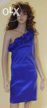 Śliczna chabrowa sukienka r.M