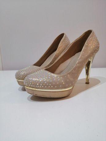 Złote szpilki buty na obcasie na platformie rozmiar 38