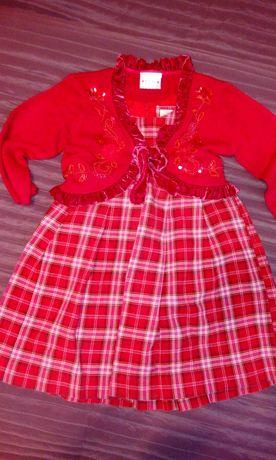 Sukienka h&m,bolerko next 104,swieta,krata,czerwona