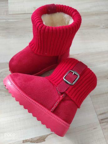Kozaczki dziewczęce zimowe jesienne buty dla dzieci czerwone