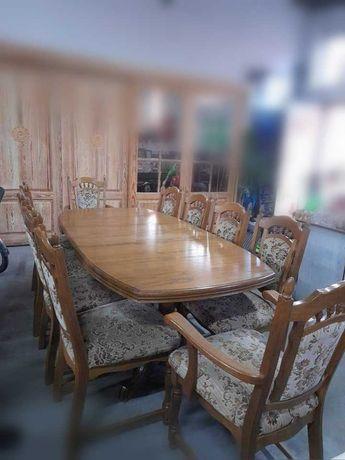 Stół Dębowy (max. 3m!)+ 10 krzeseł