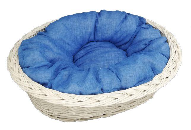 """Zestaw legowisko """"zwykłe"""" ecru 58 cm + poduszka jasno-niebieska"""