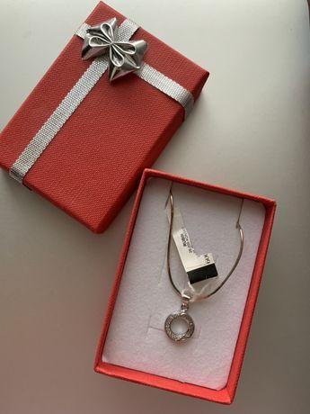 Srebrny naszyjnik łańcuszek z zawieszką kółko