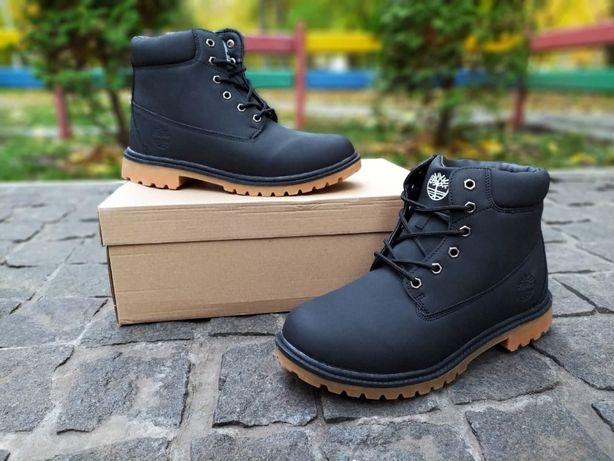 Мужские зимние ботинки в стиле Timberland черные зима на меху