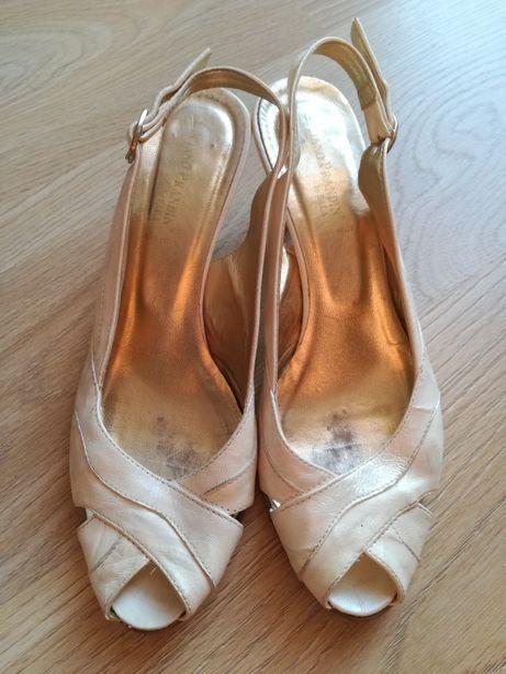 Buty czółenka38 skórzane Luciano Prandin obcas 6,5cm wizytowe skórzane