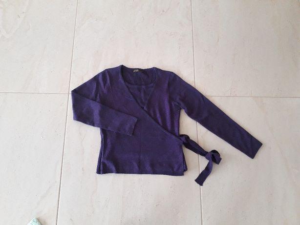 Śliwkowy sweter sweterek bliźniak 2 w 1
