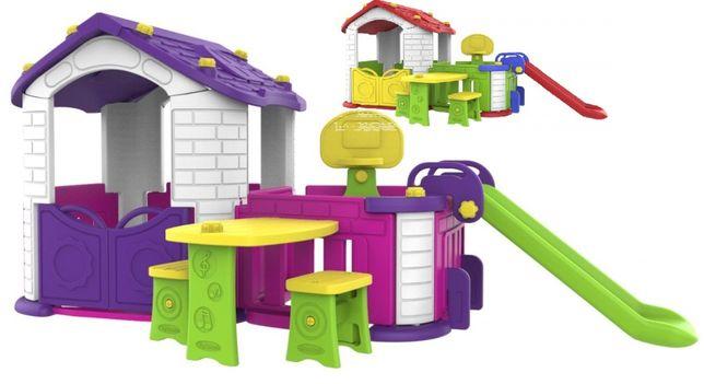 Domek ogrodowy PLac zabaw dla dzieci 5w1 zjeżdżalnia koszykówka