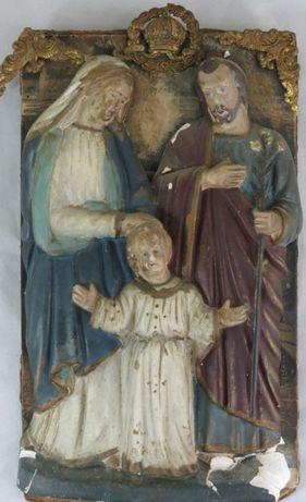Sagrada Família Placa em Gesso-30x18cm;; SécXIX
