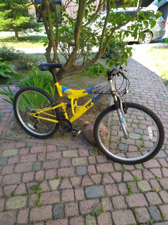 Rower żółty górki