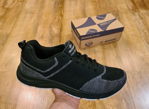 Мужские кроссовки BONA (БОНА) модель 815 чёрно-серый сетка