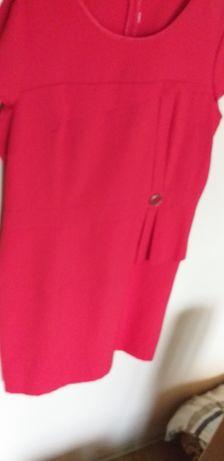 Sukienka czerwona z baskinką rozm 42
