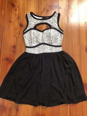 Sukienki mini czarna koronka r.36/S wesele