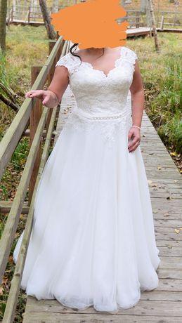 Suknia Ślubna kształt A kolor ciepły Biały Gorset Tiul + halka koło