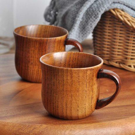 Conjunto de canecas de madeira natural