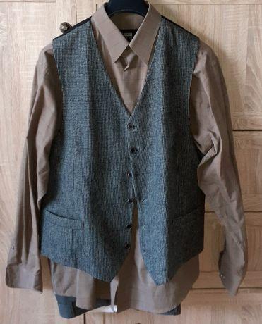 Komplet męski spodnie koszula kamizelka