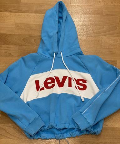 Укороченное синее худи levi's