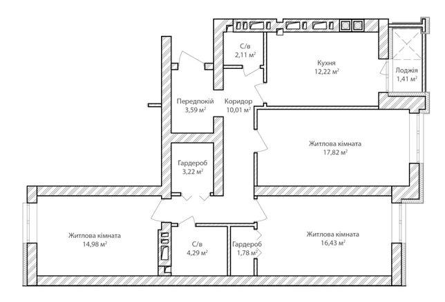 трьохкімнатна квартира в м.Ірпінь центр