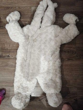 Kurtka,kombinezon pluszowy,zimowy,dziewczynka, biały,rozmiar74,3-6mies