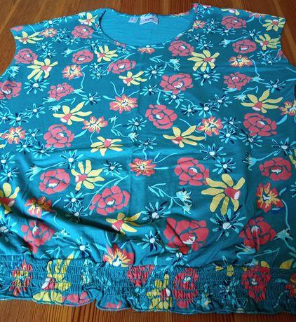 Bluzka zielona w kwiaty z krótkim rękawem